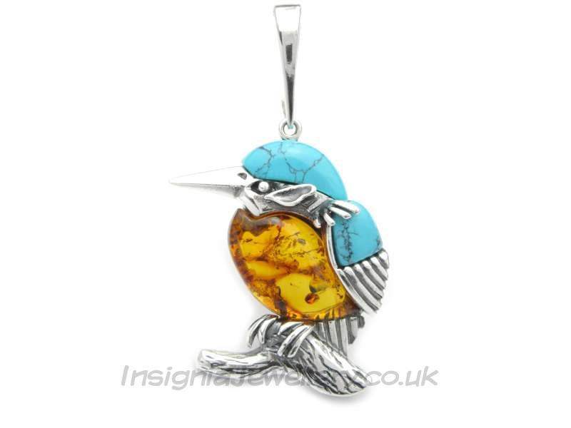 Silver large kingfisher bird pendant with amber and turquoise silver large kingfisher bird pendant with amber and turquoise aloadofball Images